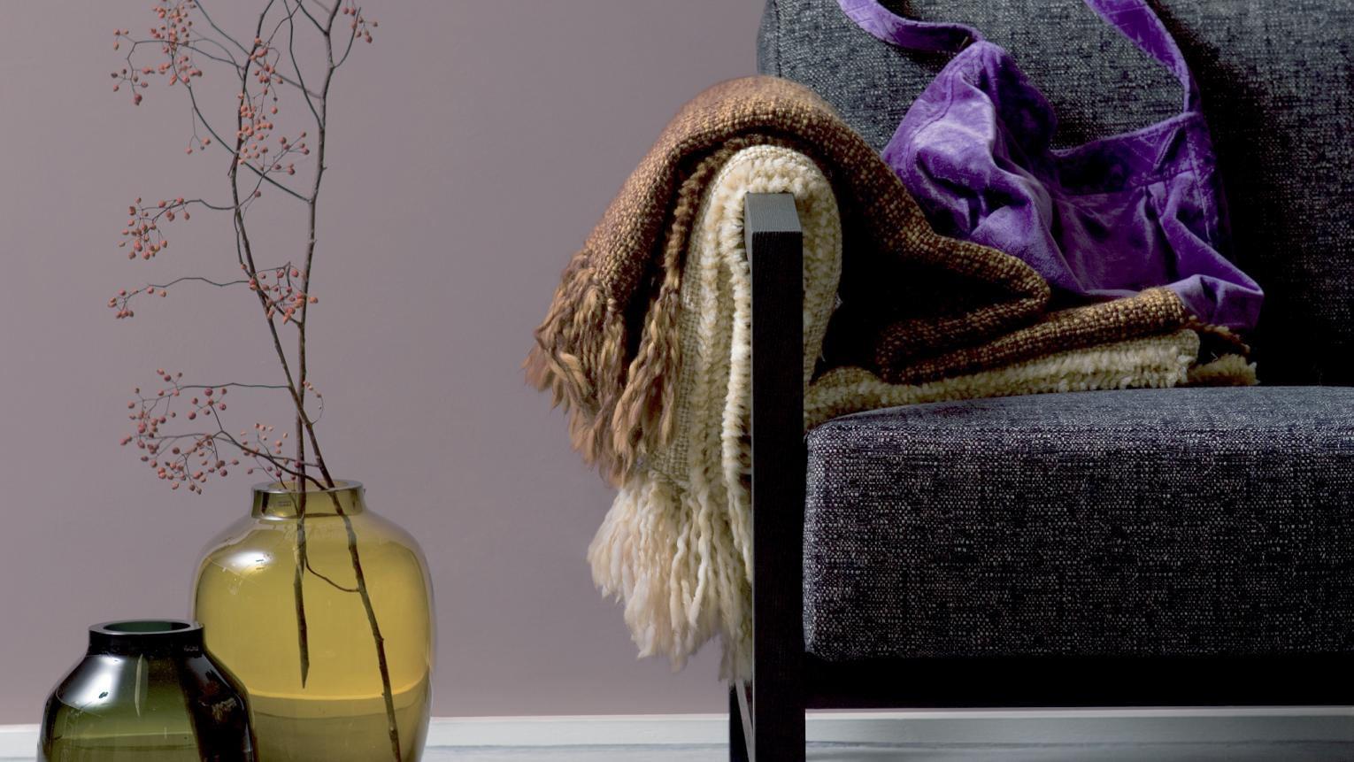 Pair smoky purple with soothing greys + colours and products