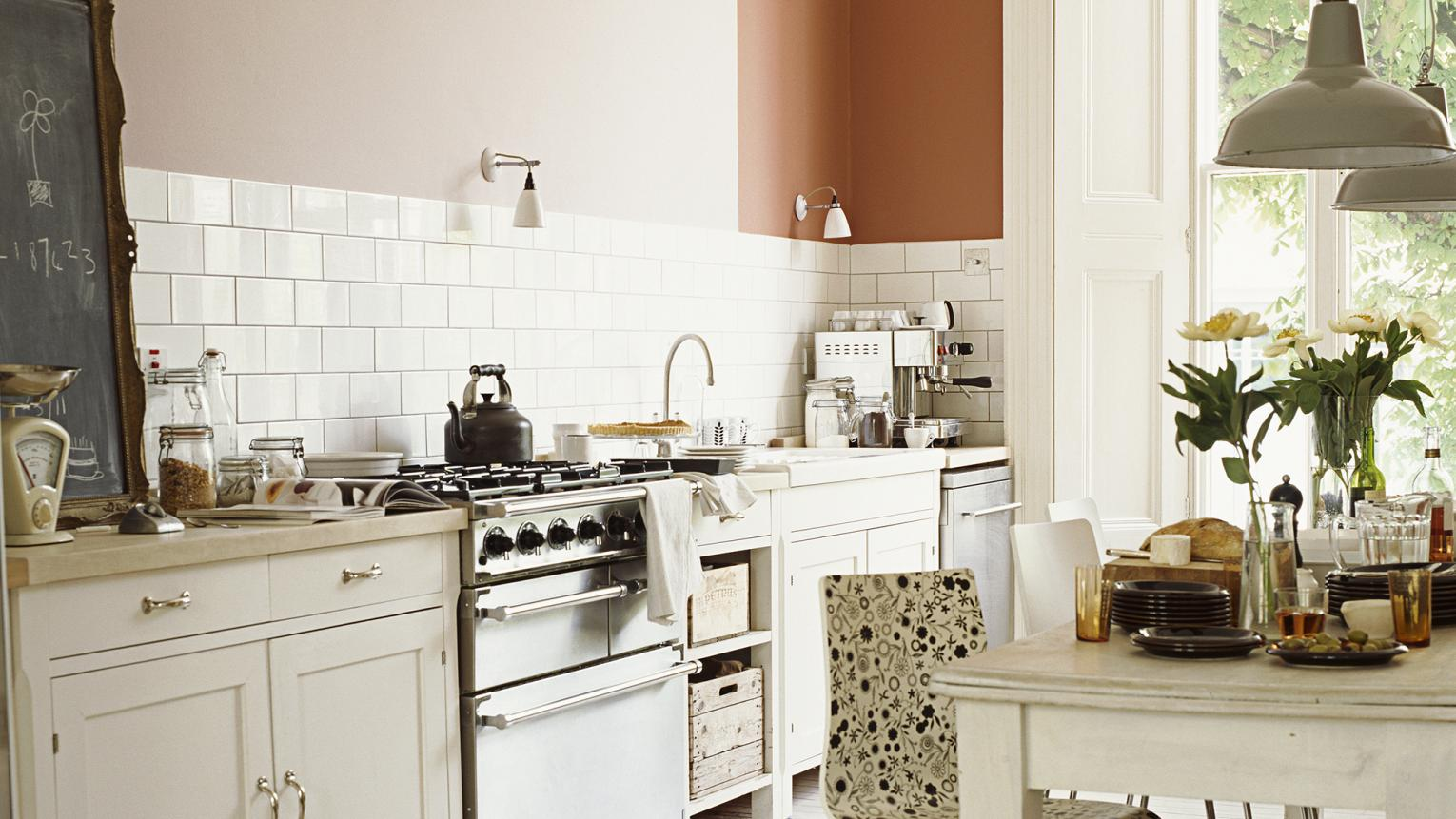 Opt for soft white in a country kitchen+ colours and products