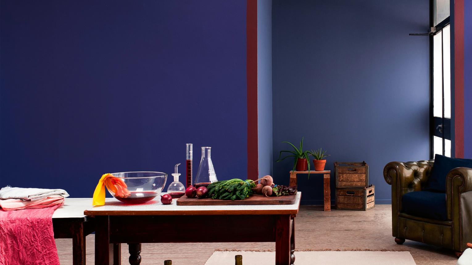 Indigo walls add a surprising and tranquil depth to any space.