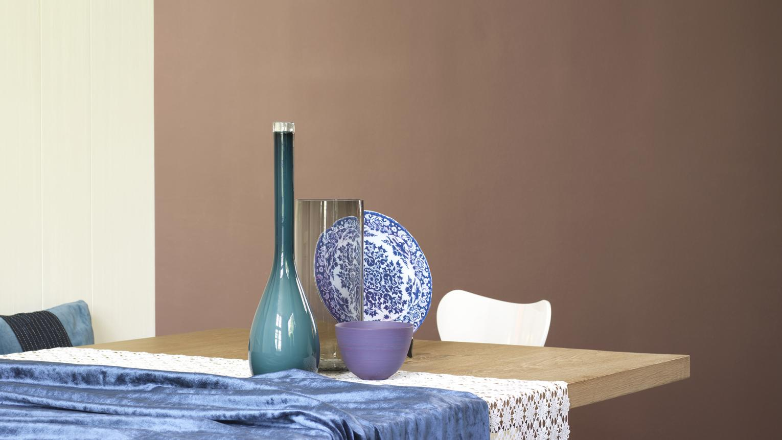 Bring neutrals to life with bright blues + colours and products