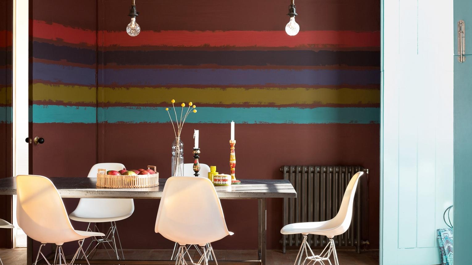 Painting stripes in varying sizes and colours is an easy way to transform your interior design.