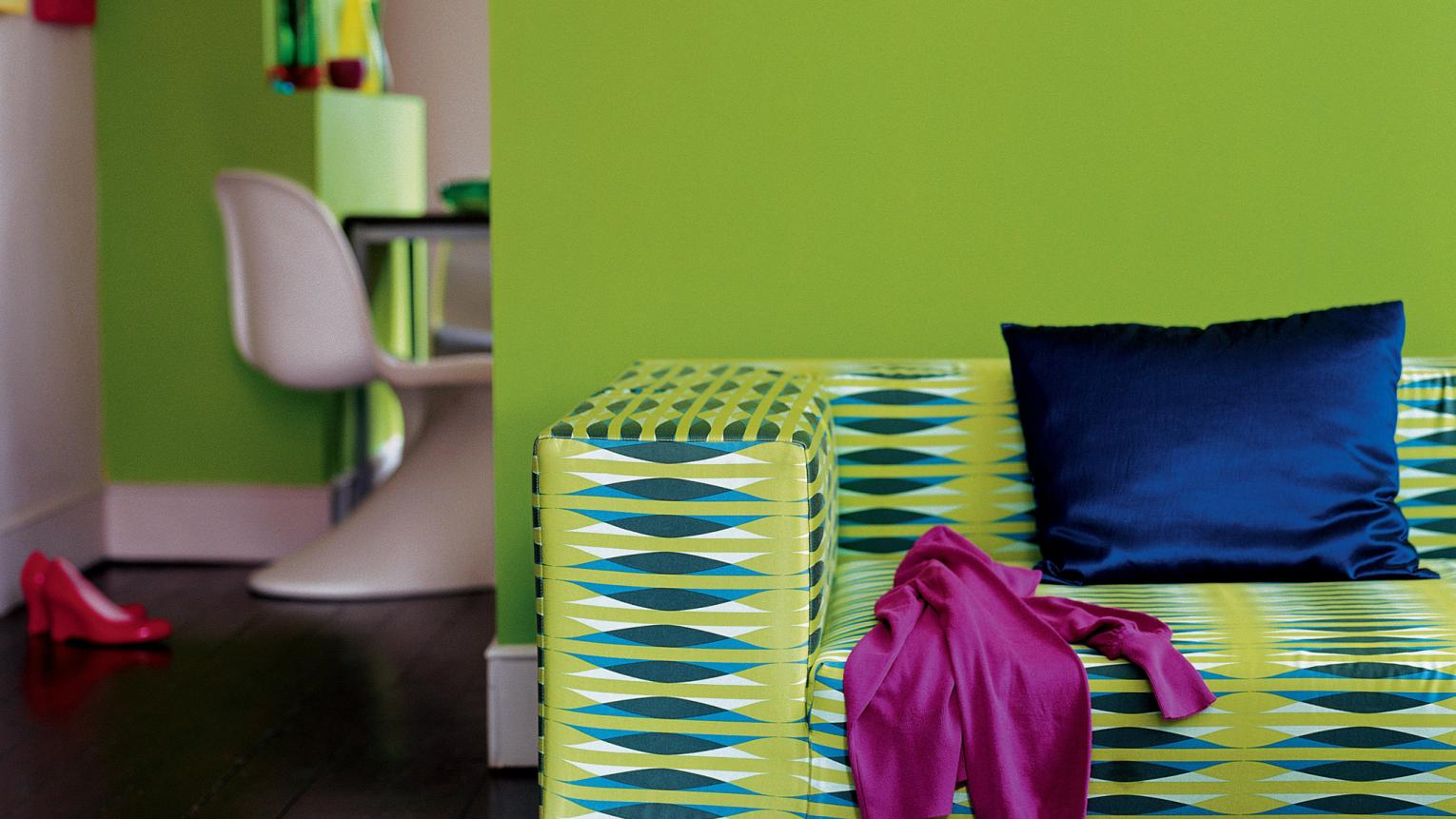 Energise living spaces with lime green + colours and products