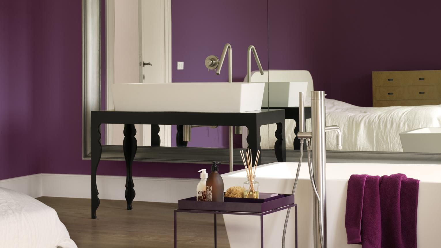 Go for regal purple for a grand bathroom + colours and products