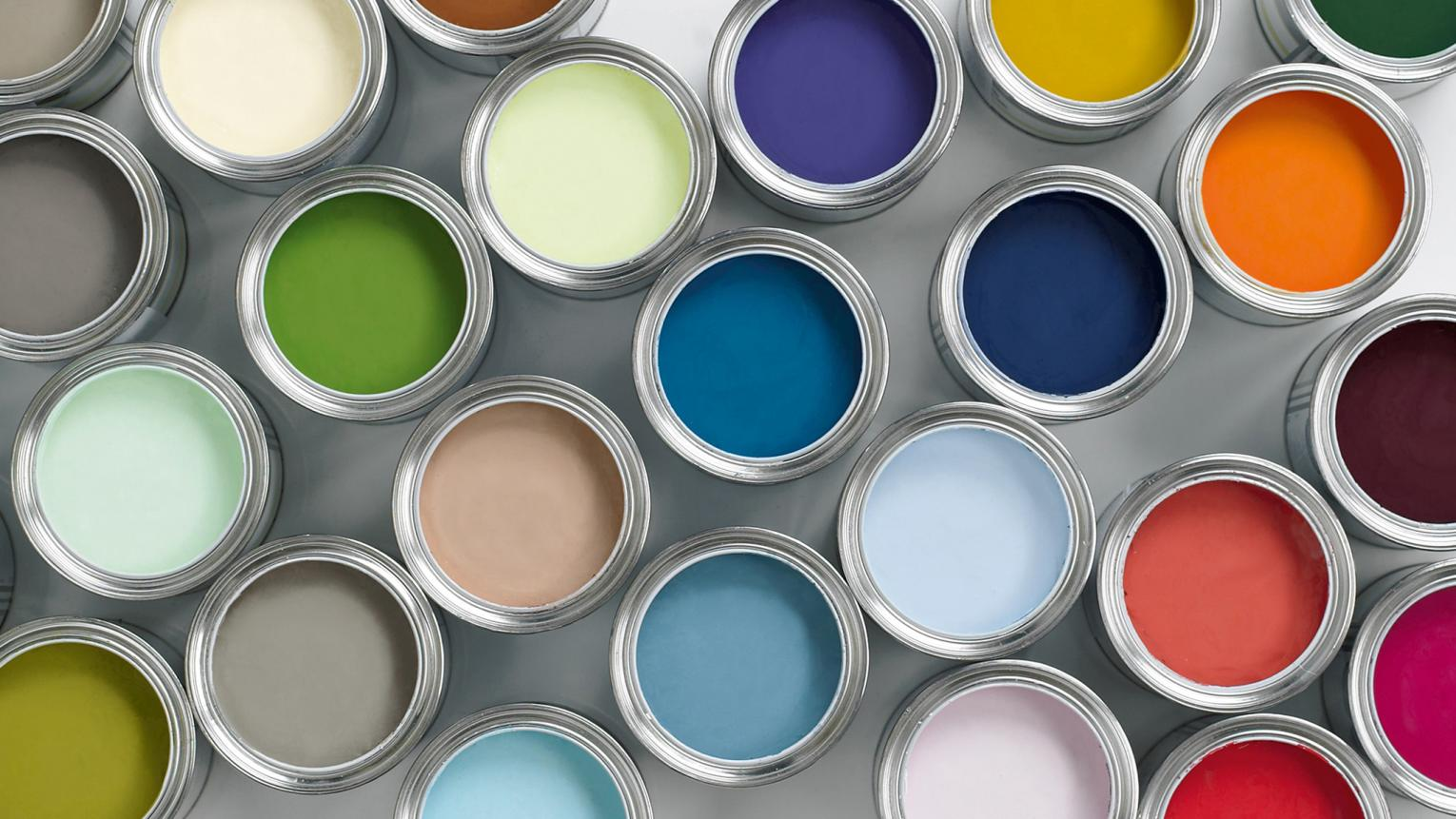 Tins of different paint colours