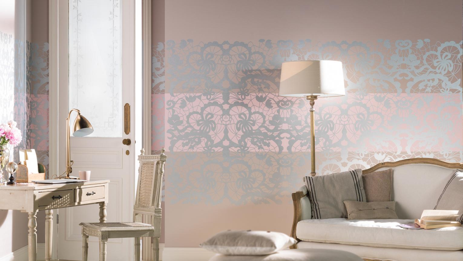 Five bedroom decor ideas to create a romantic retreat using lace stencils, drapes, rich paint colours, luxury fabrics and lighting.