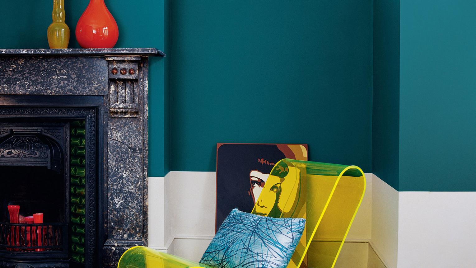 Contrast sophisticated teal with neon yellow accessories for a contemporary look