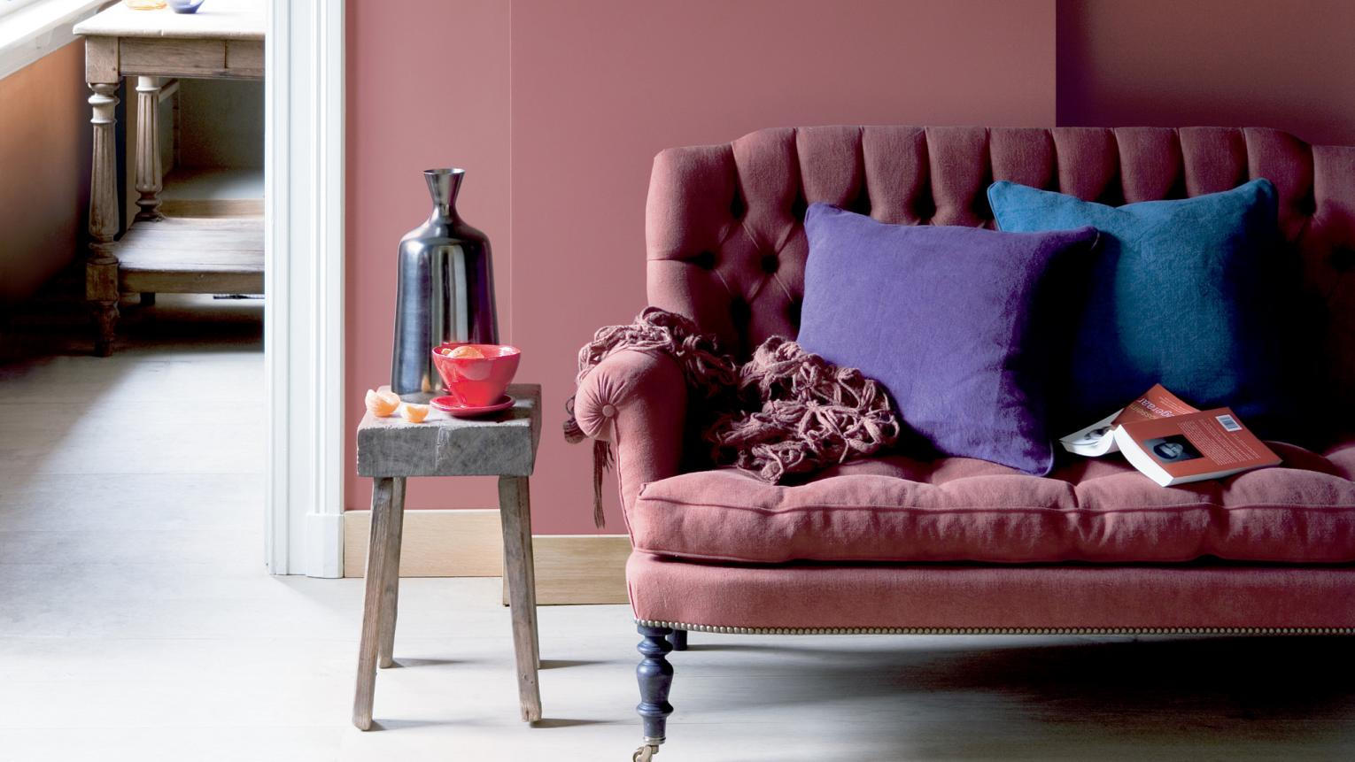 Use dusky pink to create an intimate mood + colours and products