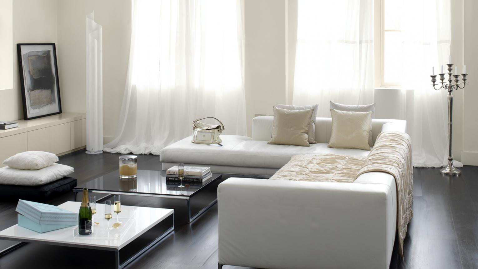 Use  subtle whites for a light-filled space + colours and products