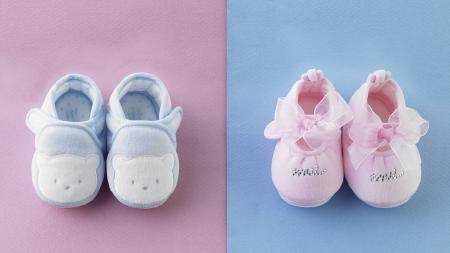 Blue and pink baby booties.