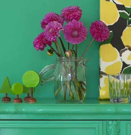 Kitchen cabinets painted in bright green