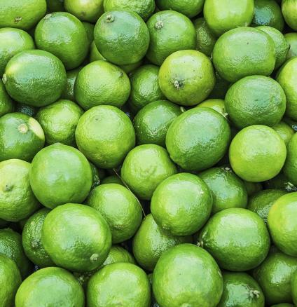 Zesty green lime fruit